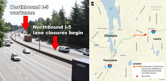 I-5 in Olympia will see major construction this weekend, delays anticipated