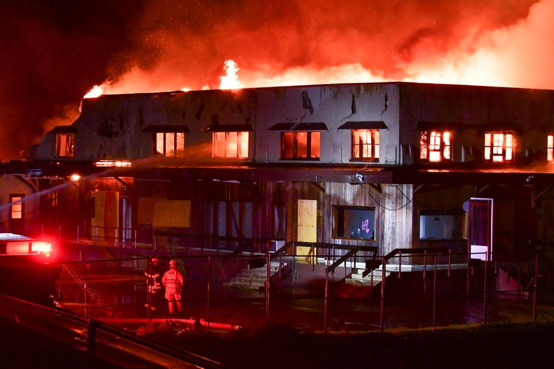 Historic fire burns Olympia Brewery Complex office building